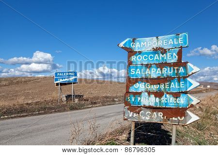 Rusty Road Signs In Sicily