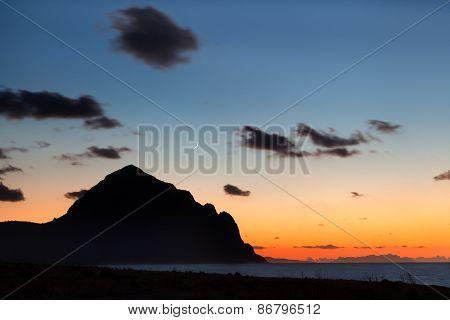 San Vito lo Capo Sicily : colorful sunset on the mediterranean sea