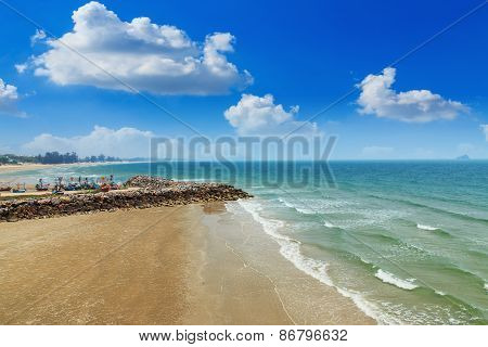 Wave  Landscape With Stones In The Sea On The Sand Beach