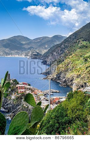 Hiking In The Cinque Terre And Looking Back At The Village Of Vernazza