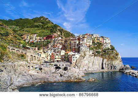 View Of The Town Of Corniglia In The Cinque Terre