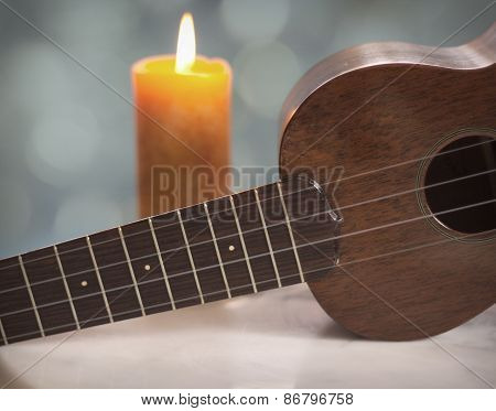 Ukulele Music Candle Light with Bokeh Accents