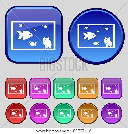 Aquarium, Fish In Water Icon Sign. A Set Of Twelve Vintage Buttons For Your Design. Vector
