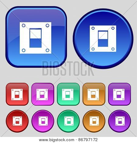 Power Switch Icon Sign. A Set Of Twelve Vintage Buttons For Your Design. Vector