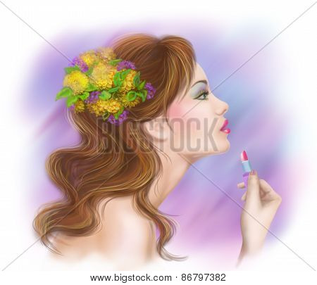 young beautiful fashionable woman applying lipstick. Make-up.