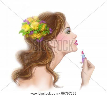 young beautiful fashionable woman applying lipstick. Make-up. Lipstick.