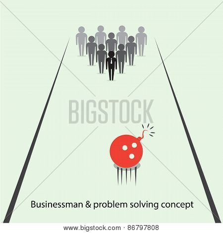 Businessman Pins Symbol And Bowling Ball Sign. Business And  Problem Solving Ideas.