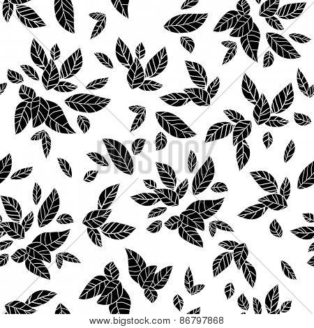 Monochrome leaves seamless pattern