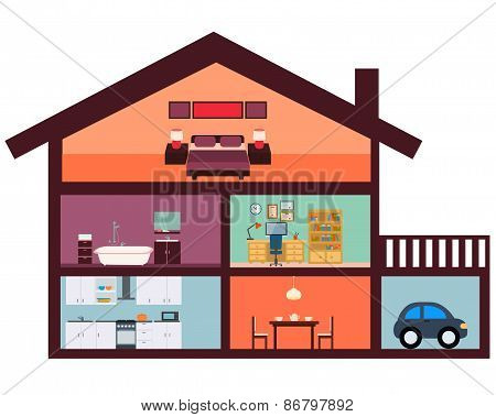 House interior with furniture. Kitchen, bathroom and bedroom. Vector illustration