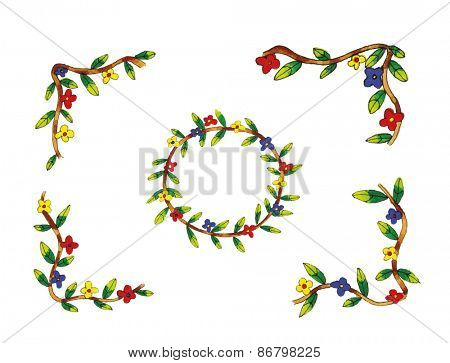 Flower chains and corners for making your own card