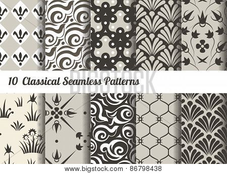 Seamless Pattern Background. Set Of 10 Classical Motifs. Monochrome Sepia Colors