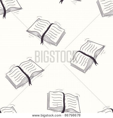 Sketched Open Book Seamless Pattern