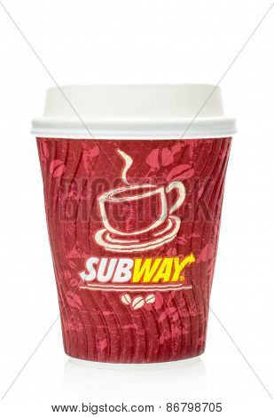 A cup of coffee to go from Subway