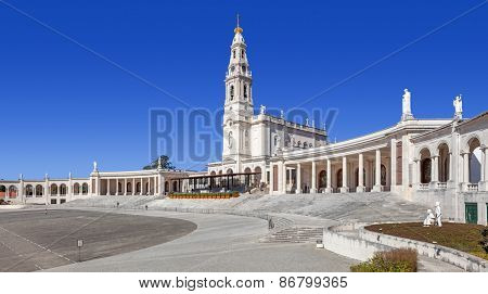 Sanctuary of Fatima, Portugal. Sanctuary of Fatima. Basilica of Nossa Senhora do Rosario and square. One of the most important Marian Shrines and pilgrimage location in the world for Catholics