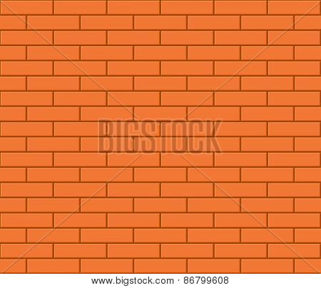 Abstract seamless orange flat brick wall