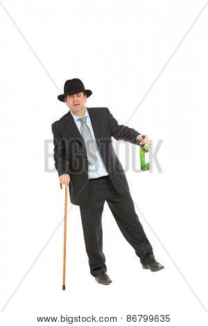 drunk man with stick and hat, isolated over white background