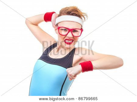 Funny Fitness Woman Ready For Gymnastick, Expressive Sport Girl Over White Background