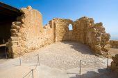 pic of masada  - The Byzantine church on top of the rock Masada in Israel - JPG