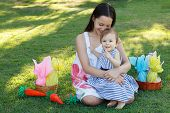 stock photo of baby easter  - Two smiling sisters - JPG