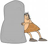 foto of caveman  - This illustration depicts a caveman trying to push a giant boulder - JPG