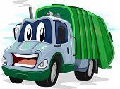 stock photo of trash truck  - Mascot Illustration of a Garbage Truck Flashing an Awkward Smile - JPG