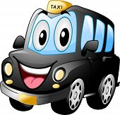 foto of cabs  - Mascot Illustration of a Black Cab Smiling Widely - JPG