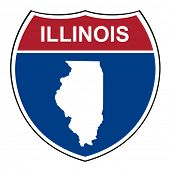 picture of illinois  - Illinois American interstate highway road shield isolated on a white background - JPG