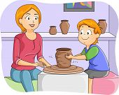 picture of pottery  - Illustration of a Little Boy Taking Pottery Lessons - JPG