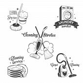 stock photo of cleaning service  - Set of vintage logos - JPG
