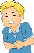 picture of stomach  - Illustration of a Little Boy Hunched Up from Stomach Pains - JPG