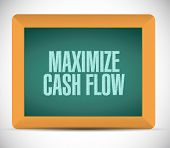 stock photo of maxim  - maximize cash flow board sign illustration design over white background - JPG