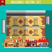 stock photo of colorful building  - Modern flat vector buildings set - JPG