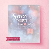 pic of ethereal  - Soft ethereal Save The Date wedding invitation template with a subtle blend of pastel blue and pink and ornate white text over a pink speckled textured background - JPG