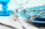 picture of pussy-willows  - Easter table setting with pussy willow branches on color wooden background - JPG