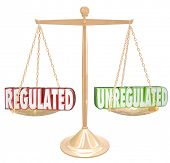 foto of  practices  - Regulated vs Unregulated 3d words on a scale to illustrate following rules or guidelines to be in compliance with laws - JPG