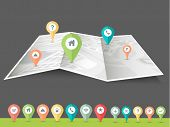 image of gps navigation  - Colorful paper navigation pins pointing to the city map on grey background - JPG