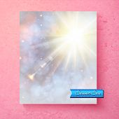 foto of ethereal  - Hot bright white summer sunburst in a soft ethereal sky with muted colors and sparkling bokeh with a turquoise banner saying  - JPG