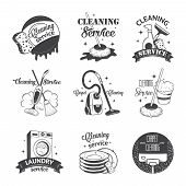 stock photo of dirty-laundry  - Set of vintage logos - JPG