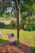 pic of planters  - Two story bird house mounted on top of a post with two vegetation planters hanging on wire brackets and the american flag - JPG