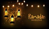image of ramazan mubarak  - Hanging illuminate lanterns on shiny golden background for the celebration of Islamic holy month of prayers - JPG