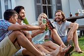 pic of racial diversity  - happy smiling diverse group of friends having outdoor garden party with beer wine drinks - JPG