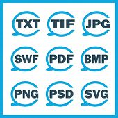 picture of png  - Set of icons indicating the digital formats - JPG