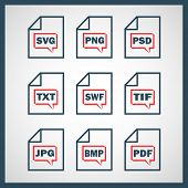stock photo of png  - Set of icons indicating the digital formats - JPG