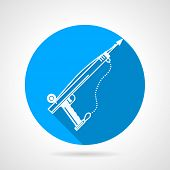 pic of spearfishing  - Blue flat round vector icon with white contour weapon for underwater hunting on gray background - JPG