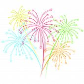 foto of firework display  - vector fireworks Display for new year and all party - JPG