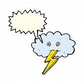 stock photo of lightning bolts  - cartoon lightning bolt and cloud with speech bubble - JPG