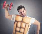 image of abs  - Ironic fat man does gym with abs - JPG