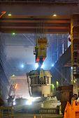 image of liquid  - Liquid iron in the ladle in metallurgy factory - JPG