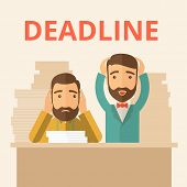pic of disappointed  - Two sad face hipster Caucasian gentlemen with beard have a big problem because they failed to submit their project  on the deadline with their  two hands raising up - JPG