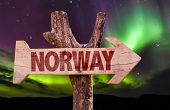pic of tromso  - Norway wooden sign with northern lights background - JPG